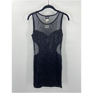 NWT FREDERICKS OF HOLLYWOOD Black Sequined Dress M